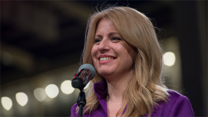 New Slovak president Zuzana Čaputová takes office on Saturday